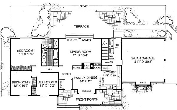 House 21057 blueprint details floor plans for 2 bedroom house plans under 1500 sq ft